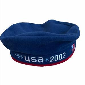 Roots USA Salt Lake Utah Winter Olympics 2002 Fleece Beret Adjustable