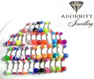 #12 Barbells Navel Belly Bar Button Ring Body Piercing Jewellery - UK SELLER