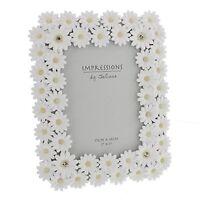 "Juliana Impressions â""¢ Luxury White Daisy Photo Frame With Crystal Elements - W"