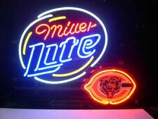 """Chicago Bears Miller Lite Neon Lamp Sign 20""""x16"""" Bar Light Beer Glass Windows"""