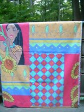 DISNEY Pocahontas SINGLE FLAT SHEET~SUNFLOWERS~EUC