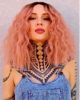 Short Wavy Black With Pink Ombre Lace Front Wig Synthetic Anime Wig Cosplay Wig