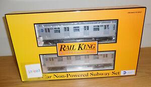 MTH 30-2163 MTA 2 CAR R-42 SILVER SUBWAY NON-POWERED ADD-ON SET O GAUGE TRAIN