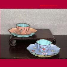 PAIR Chinese Qing 18thC YongZheng Era Famille Rose Canton Enamel Cups & Saucers