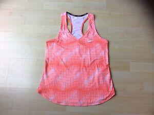 NIKE Women's Orange/White Pattern Tennis Racer Back Top. Size: M