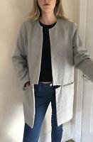 SAMSOE SAMSOE Wool Collarless Boyfriend Coat L 14 12 Warm Long Zip Pockets Grey