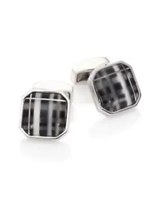 RT by TATEOSSIAN Rhodium CUFFLINKS Black Fiber Optic Glass New in Box 55% off!