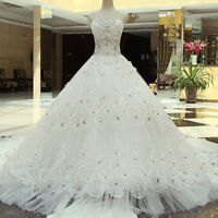 Luxury White/Ivory Wedding Dress Bridal Gown Long Train Beaded Sweetheart Custom