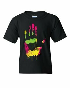 High Five Youth T-Shirt Melting Neon Dripping Hand Positive Multicolor Kids Tee