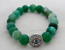 New Green Agate Mala Bead Stretch Bracelet with Crystal Studded Evil Eye