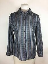 Vintage 1960s Puccini Blue Floral Blouse Striped Long Sleeve Button Down