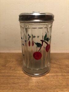 Sugar Shaker Glass Dispenser & Stainless Steel Lid w/ Pour Flap Cherry  & Flower