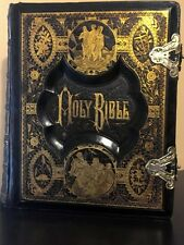 Antique Holy Bible King James Clasp Family pages Steel & Wood Plates
