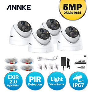 ANNKE 4pcs Dome 5MP PIR CCTV Outdoor Camera for Surveillance Security System Kit