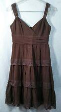BCBG maxazria brown silk sleeveless knee length empire waist cocktail dress sz 2