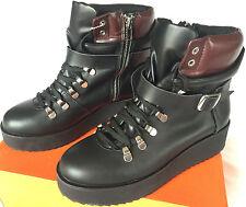 Steve Madden Hiking Flatform Black Leather Fashion Boots Shoes Women's 5.5 new