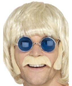 60s 70s Hippy Disguise Set Tash & Sideburns Blonde Fancy Dress Set by Smiffys