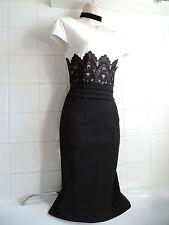 JESSICA WRIGHT @ LIPSY 14 Black White Lace Empire Pencil Wiggle Cocktail DRESS