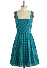 ModCloth Gingham All You've Got Doe and Rae Retro A-line Sun Dress Large NWT