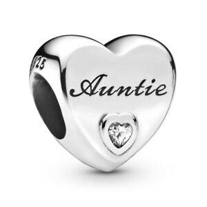 Brand New Genuine Pandora Silver Auntie Love Charm Bead 798261CZ Sale UK