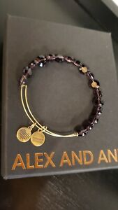 Alex and Ani Amethyst Luxe Glass Beaded Bangle in Brass with Gold Electroplate