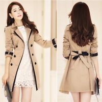 Women Lapel Long Trench Coat Double Breasted Casual Overcoat Outwear Slim Jacket