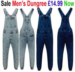 New Men's Denim Acid Wash Full Length Dungarees Jeans Mid Bib Overalls Work Wear