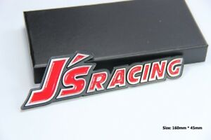 E367 JS Racing Emblème autocollants voiture badge Car Emblem auto Noir et rouge