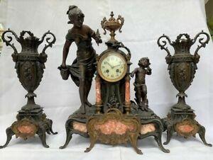 "19th c. French gilded spelter clock+ garniture, Aug.Moreau, ""Revelation"".Japy Fr"