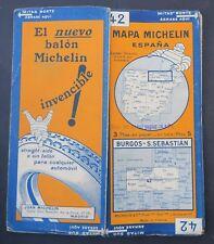 Carte MICHELIN old map n°42 MAPA ESPANA BURGOS ESPAGNE 1929 Bibendum pneu