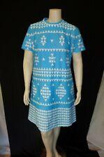 New listing Blue & White Mod Polyester Vintage 1960's Women's Plus Size Dress 2Xl 3Xl