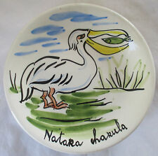 TASCA ITALY HAND PAINTED AFRICAN WILDLIFE POTTERY SMALL PLATE - PELICAN