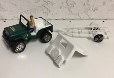 "Vintage Tonka 7"" Green Jeep Dune Buggy Removable Canopy & Boat Trailer w/ Figure"