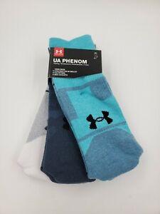 3 Pair Under Armour Phenom Crew Socks, Men's Shoe Size 8-12, L, Gray Blue L27 MP
