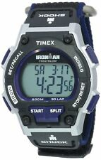 Timex Men's T5K198 Ironman Classic Shock 30-Lap Black and Blue Digital Watch