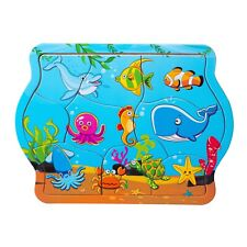 Eliiti Wooden Sea Animals Jigsaw Puzzle for Toddlers Kids 2 to 4 Years Boy Girl