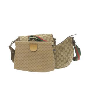 GUCCI Sherry Line GG Canvas Shoulder Clutch Bag Beige Red Green 3Set Auth ar3693