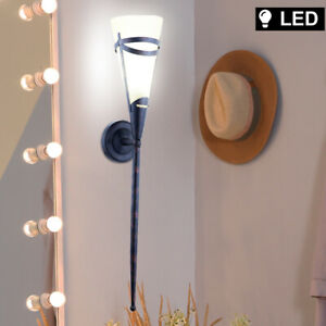 Antike LED Wand Leuchte Landhaus Stil Beleuchtung Fackel Wohn Ess Zimmer Lampe