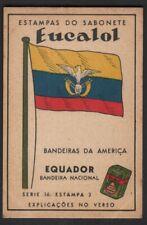 Flag of Ecuador - Equador - c1949 Trade Advertising Card Latin South America