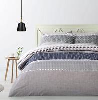 Big Sleep Shiera Blue Geometric Quilt Doona Cover Set - SINGLE DOUBLE QUEEN KING