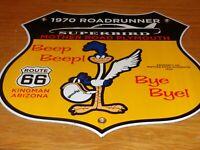 """VINTAGE 1970 PLYMOUTH ROAD RUNNER 11 3/4"""" PORCELAIN METAL CAR GASOLINE OIL SIGN!"""