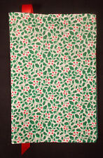 New Fabric Standard Paperback Book Cover - Cheerful Holly Green & Red Print