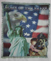 HOME OF THE BRAVE AFGHAN TAPESTRY  THROW  BLANKET NEW
