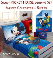4pc Disney Mickey Mouse Toddler Bed-in-a-Bag Comforter+Sheet Crib Girls/Boys Set