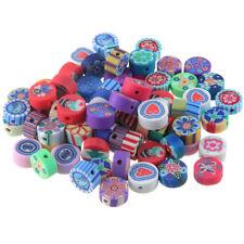 50Pcs Mixed Round Printing Pattern Polymer Clay Loose Charm Beads DIY Making