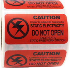 Caution Static Electricity Do Not Open Labels 1 x 2 Inch 500 Adhesive Stickers
