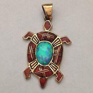 Bronze Handmade Inlay Turtle Oval Pendant