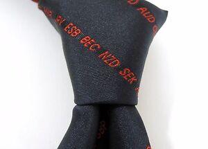 ANZ Worldwide - 100% Woven Silk Tie - Dark Blue with Red Letters