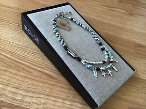 "NWT Uno de 50 Leather/Silver-plated/Turquoise-Blue Crystals Necklace ""Namaste"""