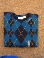 XL (14) Navy Crew Neck Argyle Long Sleeve Sweater by Old Navy